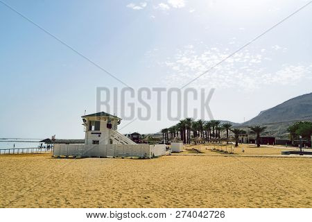 Lifeguard Station On The Beach Over Dead Sea. Ein Bokek, Israel.