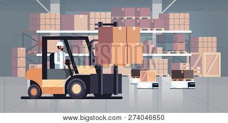 Man Driving Forklift Loader Pallet Truck Warehouse Robot Car Parcel Box Delivery Logistic Transport