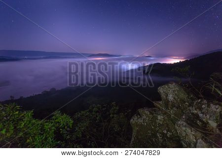 Fog And Star On The Mountain. Morning Fog In The Mountains. Beautiful Landscape With Mountain View A