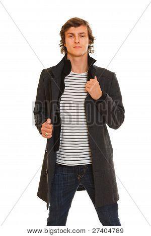Portrait Of Young Man In Winter Coat