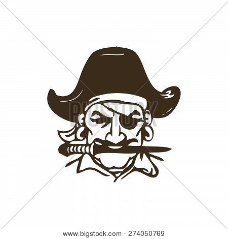 Pirate Captain And Knife Vector Illustration. Human In Pirate Hat And Eyepatch. Vintage Logo, Tattoo