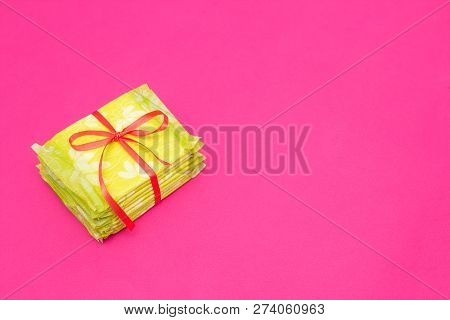 A Pile Of Feminine Sanitary Pads On A Pink Background, Close-up, Copy Space, Periodicity, Gynecology