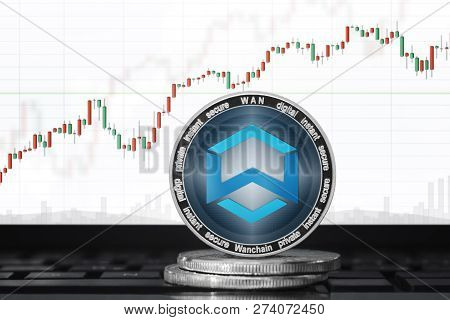 Wanchain (wan) Cryptocurrency; Wanchain Coin On The Background Of The Chart