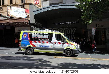 Melbourne Australia - November 26, 2018: Paramedic Ambulance Parked In Melbourne Australia