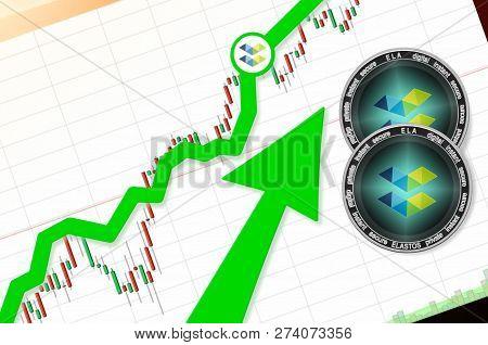 Elastos (ela) Index Rating Go Up On Exchange Market; Cryptocurrency Chart On Tablet Pc (smartphone)
