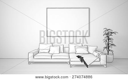 Pen and ink sketch of a living room interior with comfortable couch and blank picture frame on the wall. 3d Rendering