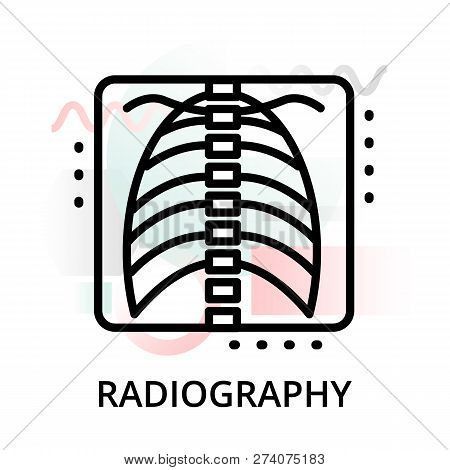 Modern Flat Editable Line Design Vector Illustration, Concept Of Radiography Icon On Abstract Backgr