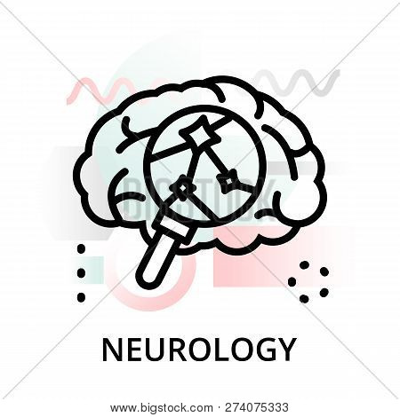 Modern Flat Editable Line Design Vector Illustration, Concept Of Neurology Icon On Abstract Backgrou
