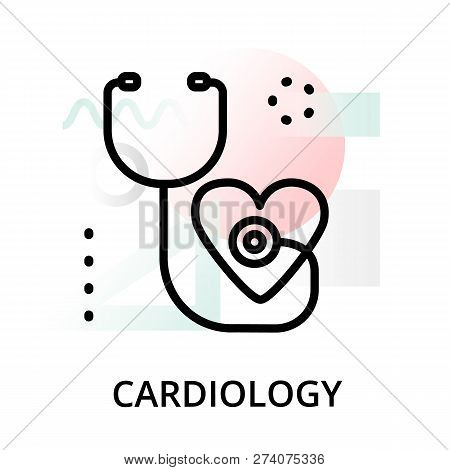 Modern Flat Editable Line Design Vector Illustration, Concept Of Cardiology Icon On Abstract Backgro