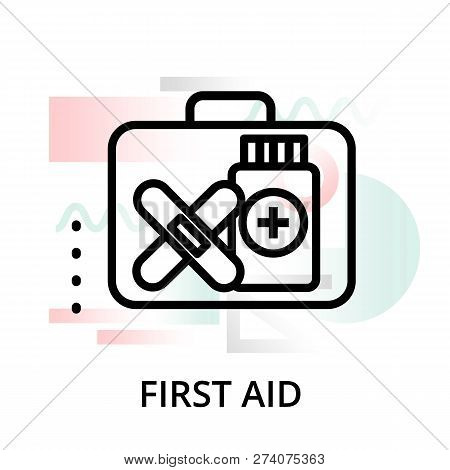Modern Flat Editable Line Design Vector Illustration, Concept Of First Aid Icon On Abstract Backgrou