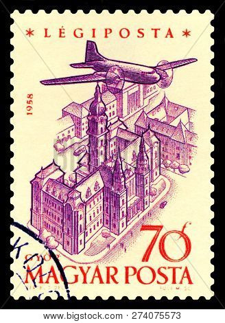 Stavropol, Russia - December 15, 2018: A Stamp Printed By Hungary, Shows  Plane Over  Gyor, Air Mail