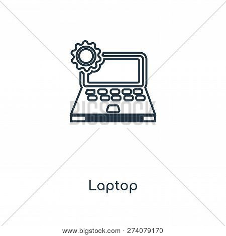 Laptop Icon In Trendy Design Style. Laptop Icon Isolated On White Background. Laptop Vector Icon Sim