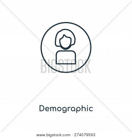 Demographic Icon In Trendy Design Style. Demographic Icon Isolated On White Background. Demographic