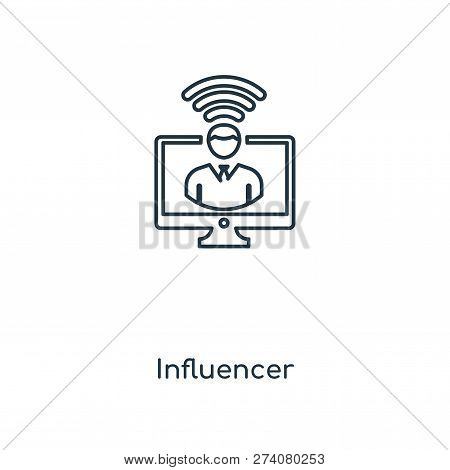 Influencer Icon In Trendy Design Style. Influencer Icon Isolated On White Background. Influencer Vec