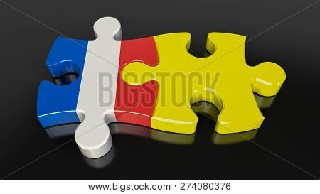 Yellow Vests And France Government Flags On Puzzle Pieces. 3D Rendering