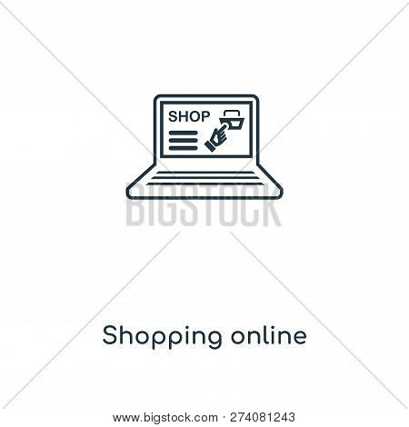 Shopping Online Icon In Trendy Design Style. Shopping Online Icon Isolated On White Background. Shop