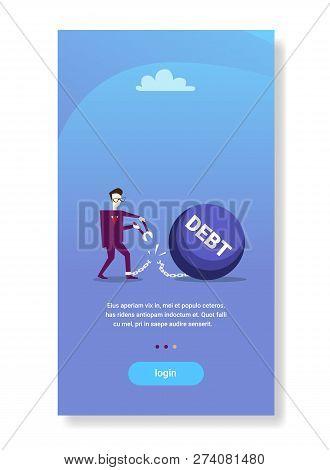 Businessman Cut Chain Bound Paid Credit Debt Financial Success Freedom Concept Business Man Solving