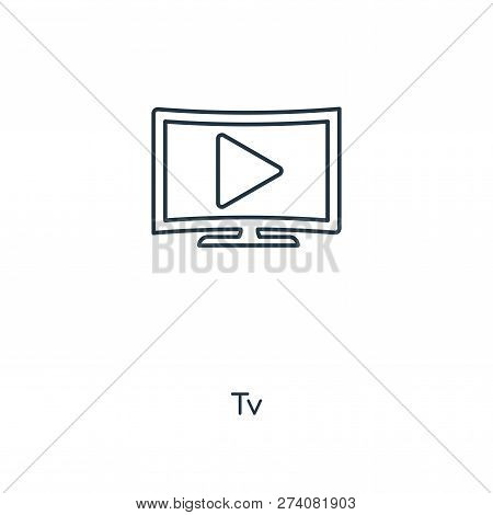 Tv Icon In Trendy Design Style. Tv Icon Isolated On White Background. Tv Vector Icon Simple And Mode
