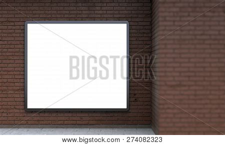Blank Billboard Lightbox Or Urban Media Lcd Screen On Brown Brick Wall. Empty Street Advertising Sig