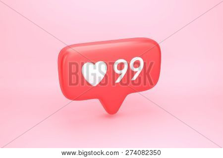 Ninety Nine Likes Social Media Notification With Heart Icon