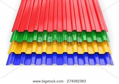 Group Of Colorful Construction Steel Profile Panel Sheets Isolated On White Background. 3d Illustrat