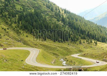 Romanian Hillside, Mountain Landscape Of Transylvania In Romania