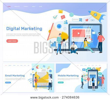 Digital And Email, Mobile Marketing Working People Vector. Web And Internet Usage For Promotion, Roc