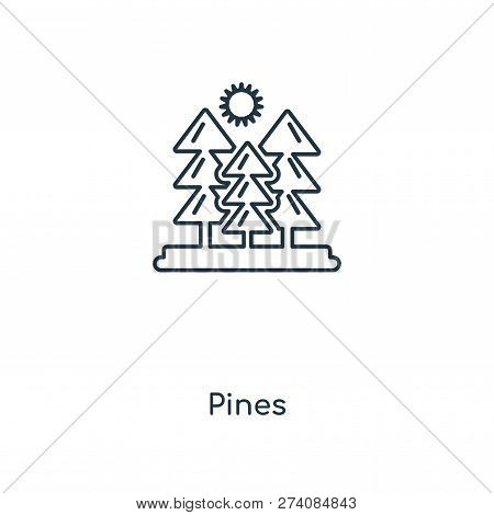 Pines Icon In Trendy Design Style. Pines Icon Isolated On White Background. Pines Vector Icon Simple