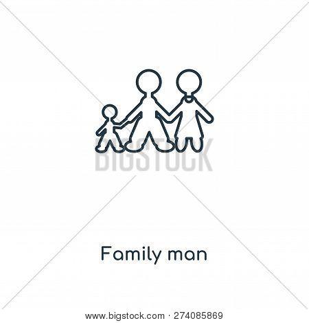 Family Man Icon In Trendy Design Style. Family Man Icon Isolated On White Background. Family Man Vec