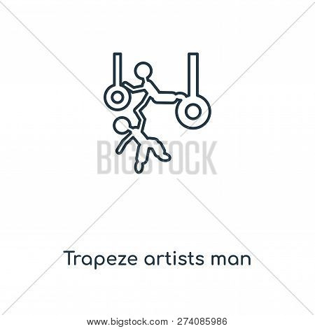 Trapeze Artists Man Icon In Trendy Design Style. Trapeze Artists Man Icon Isolated On White Backgrou