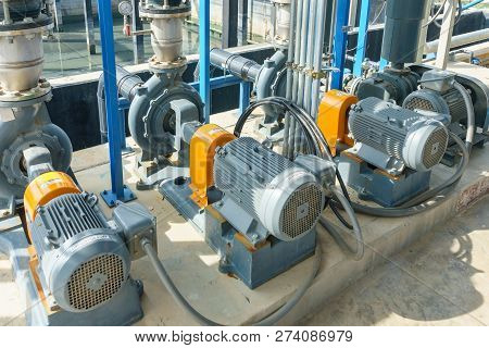 Electric Motors Driving Water Pumps Of Waste Water Treatment System, Urban Modern Treatment Faciliti