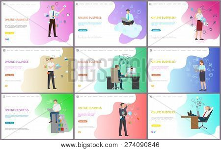 Online Business Worker With Laptops Working In Office Vector. Modern Technologies For Job, Businessm