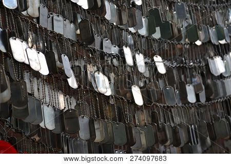Military Dog Tags (id) Honoring Fallen Military Personnel