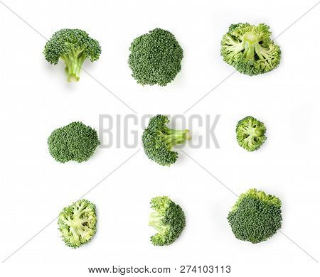 Broccoli Isolated On White Background.close Up View Of The Broccoli On White.