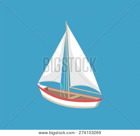 Sail Boat With White Canvas Sailing Vector Illustration Icon Isolated On Blue. Modern Yacht Marine N