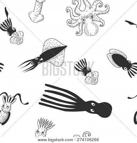 Set Of Cute Sea Monsters, Cephalopods (octopus, Cuttlefish, Squid). Black And White Vector Hand Draw