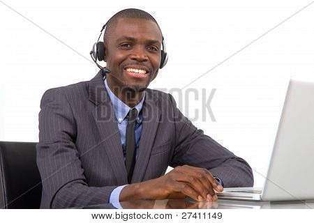 Businessman With Headset Microphone