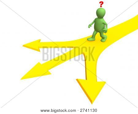 3d person going to a fork of three roads. Objects over white poster