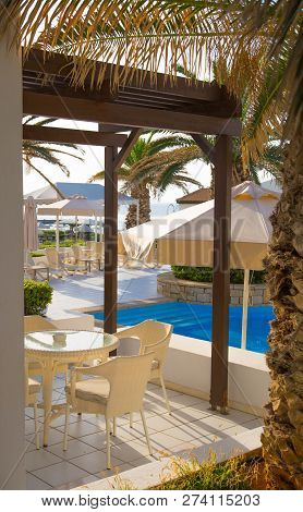 Hersonissos, Crete, Greece- July 17, 2018: Patio And Pool In The Aldemar Knossos Royal Hotel Royal V
