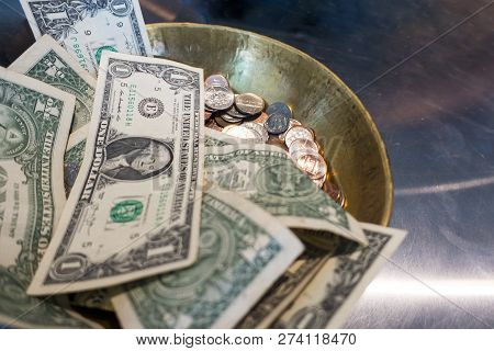American Money Currency 1 Dollar Bills And Coin Pennies, Dimes, Nickles