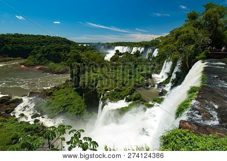Iguazu Falls, One Of The New Seven Wonders Of Nature, In Brazil And Argentina