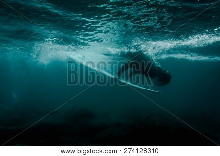Boy In The Black Swimsuit Flowing Down Holding A White Surf Board Dive Under The Wave On The Clear B