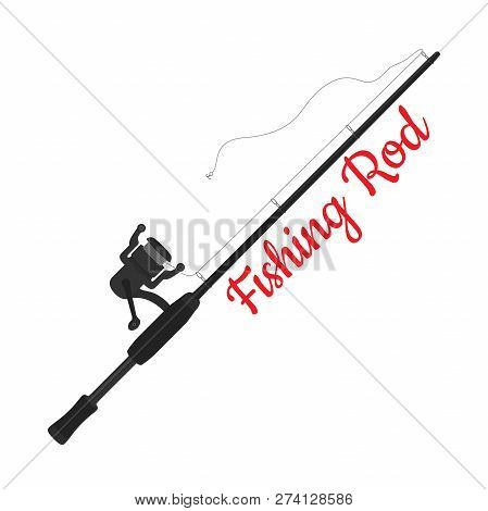 Vector Cartoon Fishing Rod, Device With Hook, Reel. Sport Equipment For Fishman. Spinning With Tackl