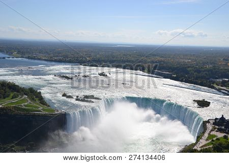 Looking down at Niagara Falls from Skylon Tower on  the Canadian side