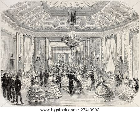 Grand Ball offered in Le Havre by Brazilian navy officers in occasion of Brazilian emperor birthday. Created by Godefroy-Durand after Barbin, published on L'Illustration Journal Universel, Paris, 1858