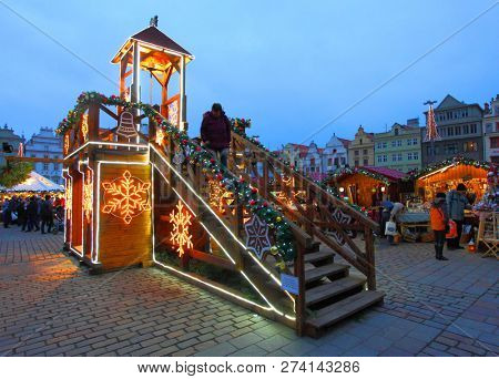 Pilsen / Czech Republic - December12, 2018: Night shot from christmas market on Pilsen square. Local event with very long history.