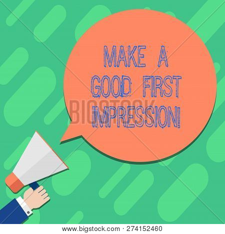 Handwriting Text Writing Make A Good First Impression. Concept Meaning Introduce Yourself In A Great