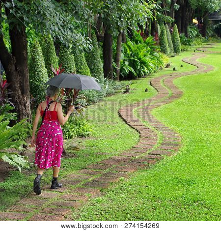Woman Holding A Black Umbrella. Walking On The Sidewalk In The Park.