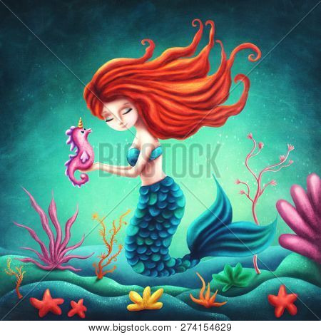 Illustration of a cute mermaid with a seahorse