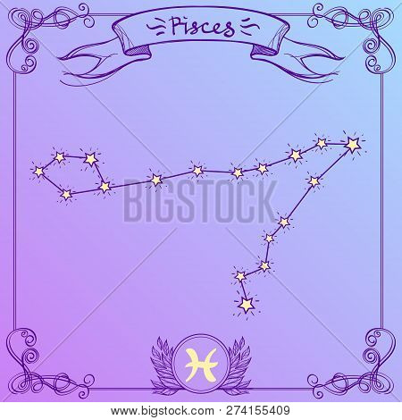 Pisces constellation on a purple background.. Schematic representation of the signs of the zodiac. poster